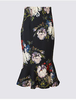 M&S Collection Floral Print Fishtail Midi Skirt