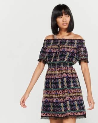 Anna Sui Sui By Off-the-Shoulder Paisley Blouson Dress