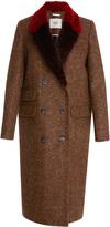 Maison Pre Fur Trim Herringbone Coat