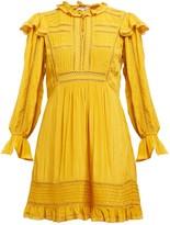 Sea Poppy Ruffled Sateen Mini Dress - Womens - Dark Yellow