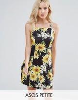Asos Sunflower Print Strappy Back A-Line Sundress