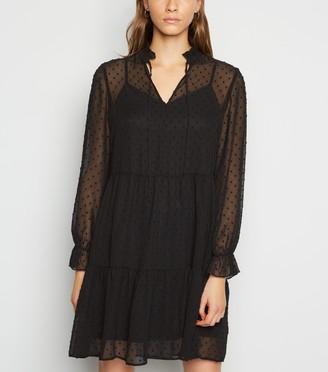 New Look Textured Spot Tie Neck Smock Dress