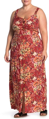 Angie Button Front Tie Back Floral Print Maxi Dress (Plus Size)