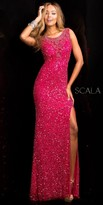 Scala Sparkling Illusion Back Form Fitting Prom Dress