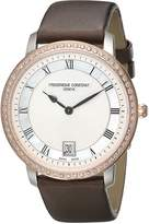 Frederique Constant Women's FC220M4SD32 Slim Line Stainless Steel Watch with Brown Satin Band