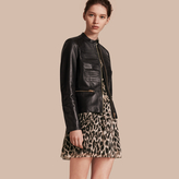 Burberry Collarless Lambskin Jacket with Regimental Detailing