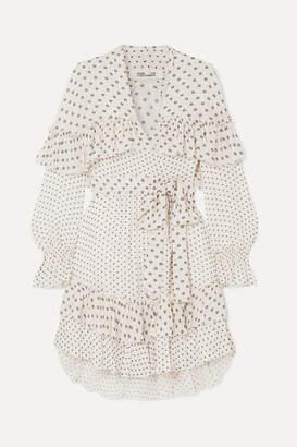 Diane von Furstenberg Martina Ruffled Embroidered Georgette Wrap Dress - Ivory