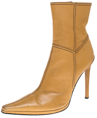 Casadei Tan Leather Pointed Toe Ankle Boots Size 37.5
