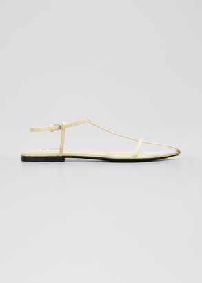 Jil Sander T-Strap Flat Leather Sandals