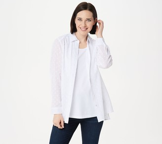 Denim & Co. Solid Clip Dot Button Front Blouse and Knit Tank Set