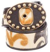Miu Miu Leather-Trimmed Velvet & Canvas Belt