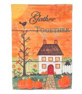 "Evergreen Gather Together"" Pumpkin Indoor / Outdoor Garden Flag"