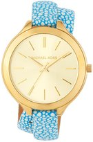 MICHAEL Michael Kors 42mm Slim Runway Wrap Watch w/ Leather Strap, Gold/Blue