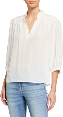 Frame Cali V-Neck Silk Top