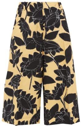 Jacquemus D'homme Floral-print Linen-blend Culottes - Womens - Black Yellow