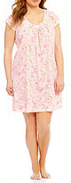 Miss Elaine Plus Floral Scroll Silky Knit Nightgown