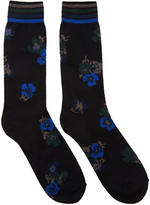 Sacai Black and Blue Flower Socks