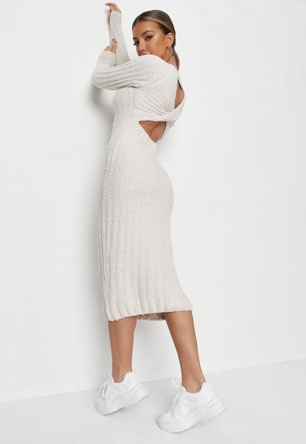 Missguided Tall Cream Twist Back Midaxi Knit Dress