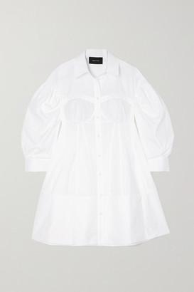 Simone Rocha Corset Cotton-poplin Mini Shirt Dress - White