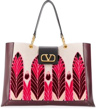 Valentino VLOGO feather-embroidered tote bag