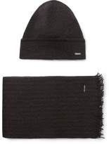 Hugo Boss - Marros Striped Virgin Wool-blend Hat And Scarf Set