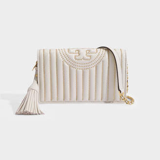 Tory Burch Fleming Mini Stud Wallet Crossbody Bag In Beige Calfskin