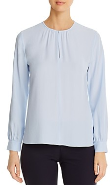 Eileen Fisher Silk Keyhole Blouse - 100% Exclusive