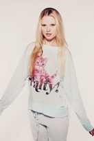 Wildfox Couture Party Cat Destroyed Sweater in Mint Jelly