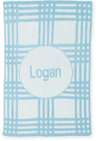 Butterscotch Blankees Personalized Plaid Knit Baby Blanket, Light Blue