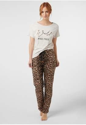 Next Womens Animal Print Cotton Blend Pyjamas - Brown