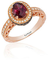 LeVian Chocolatier Raspberry Rhodolite, Vanilla and Chocolate Diamond Ring