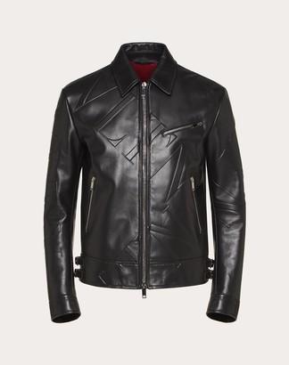 Valentino Vltn Grid Leather Jacket Man Black Cowhide 100% 44