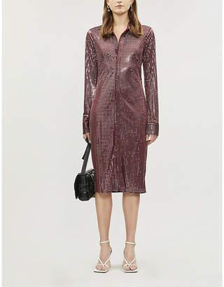 Bottega Veneta Metallic flared-skirt mirrored midi dress