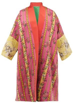 RIANNA + NINA Vintage Floral-jacquard Silk Robe Coat - Green Multi