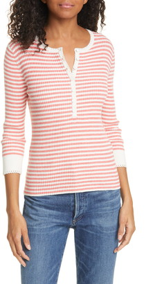 La Vie Rebecca Taylor Stripe Cotton & Linen Blend Henley Sweater