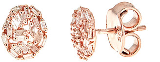 Forever Creations Usa Inc. Forever Creations Rose Gold Over Silver 0.50 Ct. Tw. Champagne Diamond Studs