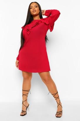 boohoo Plus Ruffle Detail Shift Dress