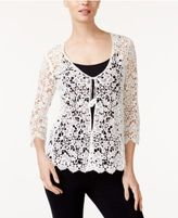 Alfani Petite Cotton Crochet-Lace Cardigan, Only at Macy's