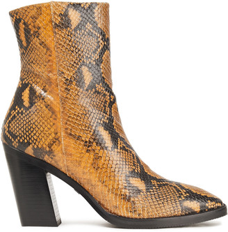 Stuart Weitzman Wynter Snake-effect Leather Ankle Boots