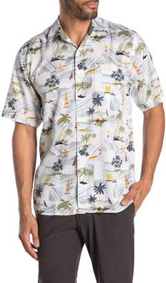 Tommy Bahama Belavita Surf Club Short Sleeve Tropical Print Hawaiian Shirt