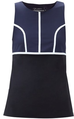 Ernest Leoty Eglantine Piped Tank Top - Black Navy