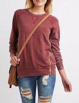 Charlotte Russe Marled Zipper-Trim Sweatshirt