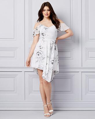 Le Château Floral Knit Cold Shoulder Fit & Flare Dress