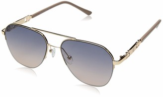 Rocawear Women's R3282 Geometric Semi-Rimless Metal Aviator Sunglasses with Metal Chain-Link Temple Design and 100% UV Protection 55 mm