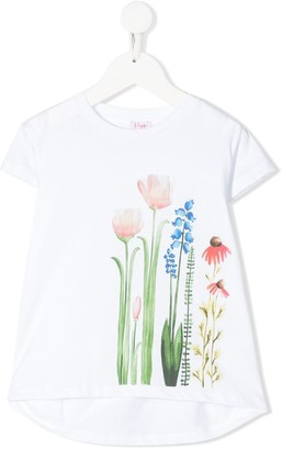 Il Gufo painted floral T-shirt