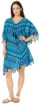 Miraclesuit Cabana Chic Caftan Cover-Up (Blue) Women's Swimwear