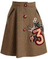 Miu Miu Hound's-tooth embellished-appliqué wool skirt
