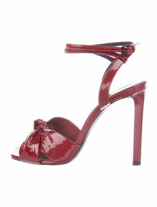 Saint Laurent Patent Leather Sandals Red