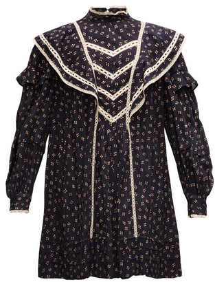 Etoile Isabel Marant Rebel Ruffled Spot-print Satin Mini Dress - Navy Multi