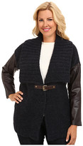 MICHAEL Michael Kors Size Leather Sleeve Buckle Cardigan